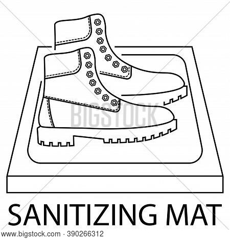Sanitizing Mat. Shoes Disinfection. Antibacterial Equipped In Flat Style. Disinfection Carpet For Sh