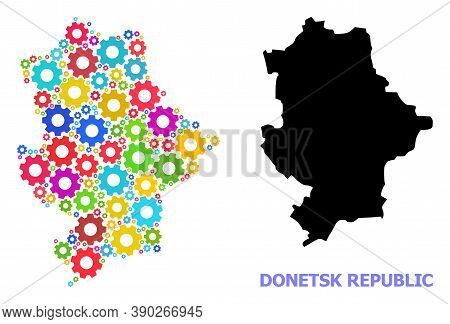 Vector Mosaic Map Of Donetsk Republic Done For Mechanics. Mosaic Map Of Donetsk Republic Is Done Of