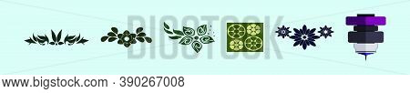 Templates For Laser Cutting, Plotter Cutting, Printing. Leaf And Flower Shape Line Pattern. Geometri