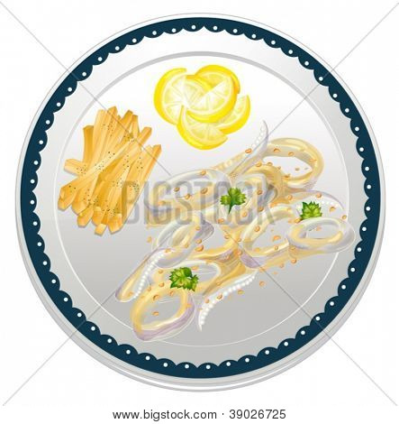 illustration of cala frei in a dish on a white background