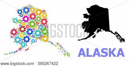Vector Mosaic Map Of Alaska State Constructed For Engineering. Mosaic Map Of Alaska State Is Done Wi