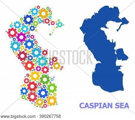 Vector Mosaic Map Of Caspian Sea Constructed For Services. Mosaic Map Of Caspian Sea Is Composed Of