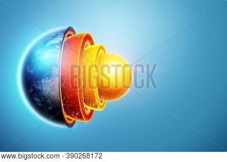 Internal Structure Of The Earth, Core Structure, Geological Layers On A Blue Background. Earth Geolo