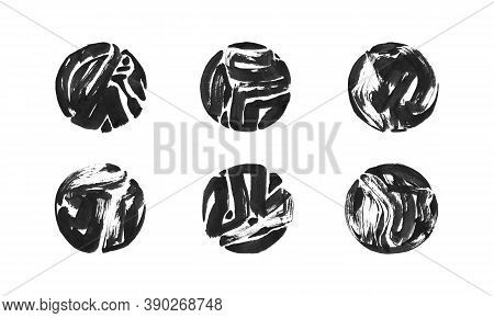 Set Of Black Ink Painted Grunge Dirty Circle Frame. Isolated Round Shape Illustration, Hand Drawn Te