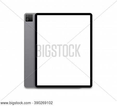 Tablet Pc With White Screen Isolated On A White Background. 3d Illustration.