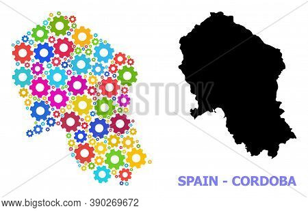 Vector Mosaic Map Of Cordoba Spanish Province Combined For Industrial Apps. Mosaic Map Of Cordoba Sp