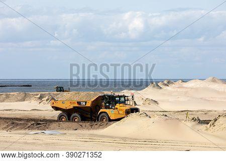 Vistula Spit, Poland - September 11, 2010: Construction Of The Vistula Spit Canal , Official Name No