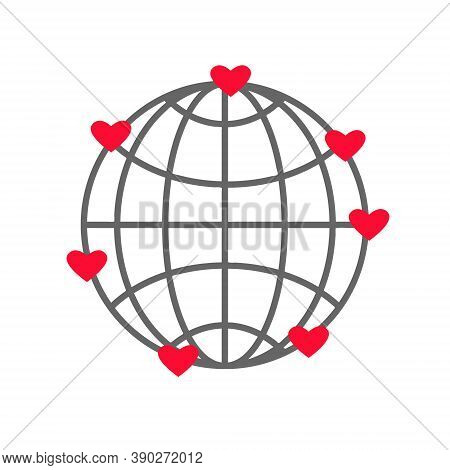 Abstract Earth Globe Icon With Meridians, Red Hearts. Vector Illustration For Web Apps