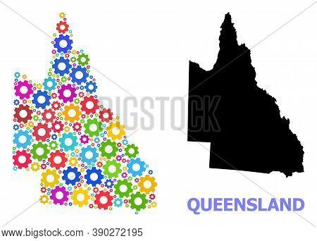 Vector Mosaic Map Of Australian Queensland Done For Engineering. Mosaic Map Of Australian Queensland
