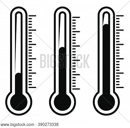 Thermometer Silhouette Illustration Isolated On White. Autumnal Black And White Vector Design. Weath