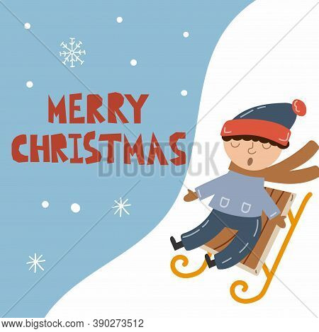 Boy Sledging Postcard. Kids Outdoor Activityes. Boy And Sledge, Celebration New Year Postcards, Happ
