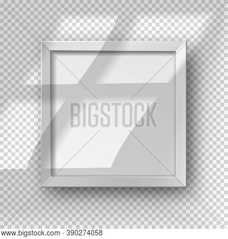 Vector Realistic Square Empty Picture Frame With Window Shadow Overlay Effect. Mockup Template With