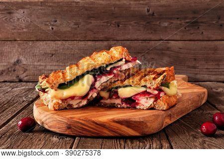 Grilled Turkey, Cranberry And Brie Sandwich. Side View On A Serving Board Against A Dark Wood Backgr