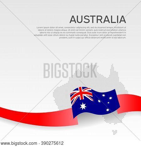 Australia Wavy Flag And Mosaic Map On White Background. Wavy Ribbon Color Flag Of Australia. Busines