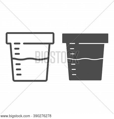 Urine Sample For Analysis Line And Solid Icon, Medical Tests Concept, Sampling Container Sign On Whi