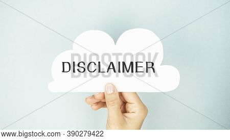 Disclaimer Handwriting With Black Marker On Paper, Concept, Stock Image