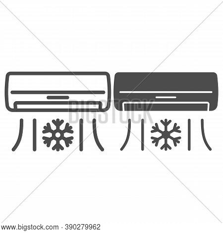 Air Conditioner Line And Solid Icon, Gym Concept, Air Cooling With Snowflake Sign On White Backgroun