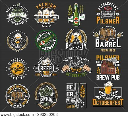Beer Colorful Designs Collection In Vintage Style With Brewing Labels And Emblems Isolated Vector Il