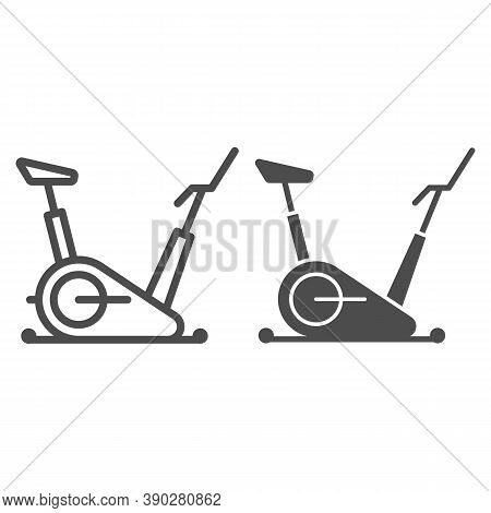 Exercise Bike Line And Solid Icon, Gym Concept, Stationary Bike Sign On White Background, Fitness Cy