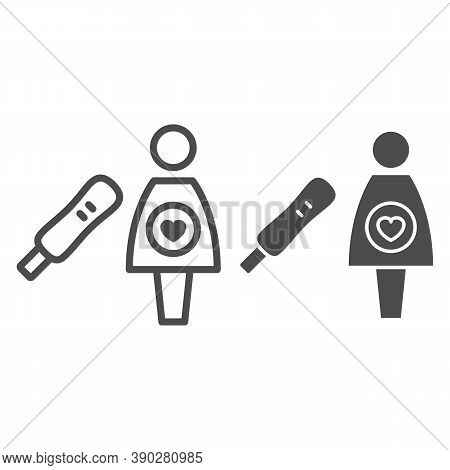 Pregnancy Test Line And Solid Icon, Medical Tests Concept, Woman And Positive Test Result Sign On Wh