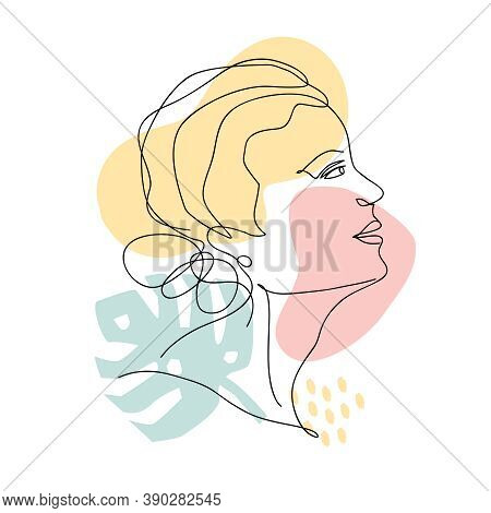 Vector Abstract Trendy Illustration Of One Line Drawing Of Woman With Geometric Elements And Monster