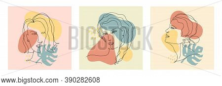 Vector Abstract Trendy Cards With One Line Drawing Of Women, Monstera Leaf And Geometric Elements. M