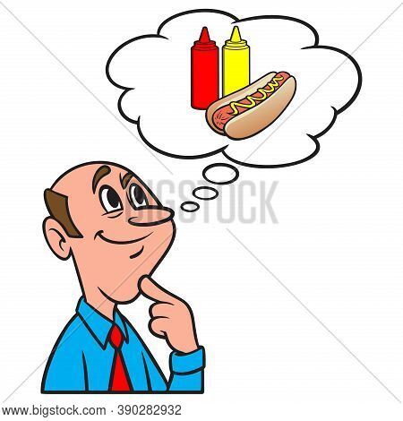 Thinking About A Company Cookout - A Cartoon Illustration Of A Man Thinking About A Company Cookout.