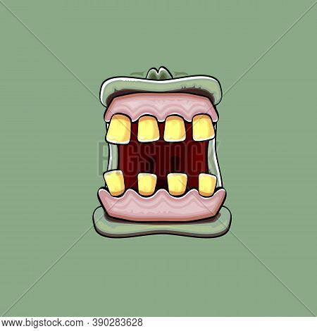 Vector Cartoon Funny Silly Zombie Monster Mouth With Rotten Teeth Isolated On A Green Background. Ve