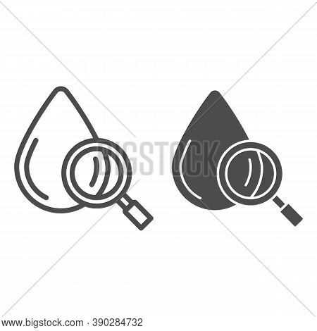 Blood Drop Under Magnifier Line And Solid Icon, Medical Tests Concept, Blood Test Sign On White Back