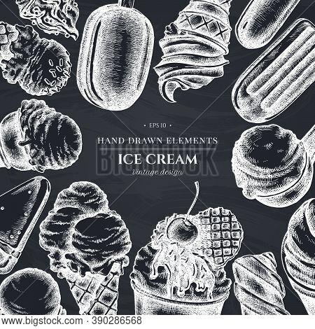 Monochrome Design With Chalk Ice Cream Bowls, Ice Cream Bucket, Popsicle Ice Cream, Ice Cream Cones