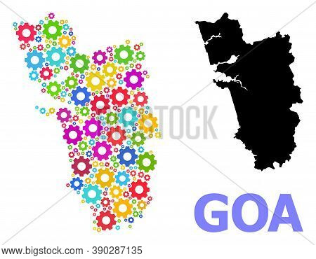 Vector Mosaic Map Of Goa State Combined For Engineering. Mosaic Map Of Goa State Is Done With Random