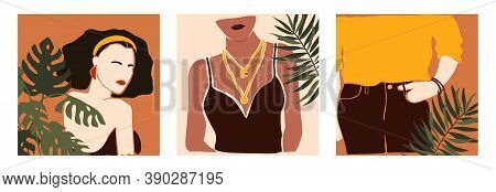 Vector Set Of Cards With Hand Drawn Abstract Modern Young Women And Monstera. Fashion Minimal Trendy