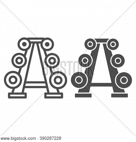 Stand With Dumbbells Line And Solid Icon, Gym Concept, Gym Equipment Sign On White Background, Barbe
