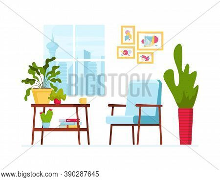 Vector Illustration With Cozy Interior. Window With Cityview, Table With House Plants And Books, Sca