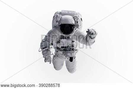 Astronaut Isolated On White Background. Science Fiction. Elements Of This Image Furnished By Nasa