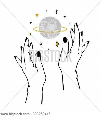 Vector Illustration Of Womens Hands Holding Textured Planet And Stars. Trendy Linear Minimal Boho Ta