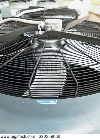 Industrial Air Conditioner  And Cooling Unit On Building Roof. External Air Conditioning System On T