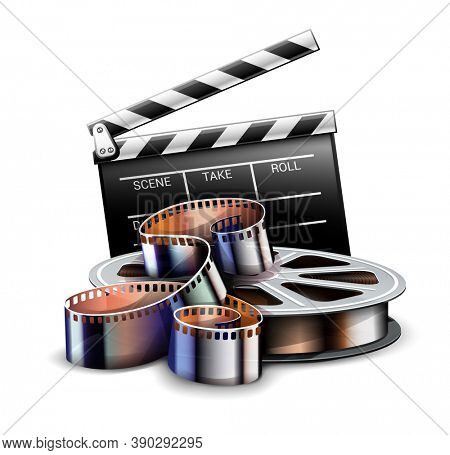 Online cinema art movie poster design with director film production clapper and film-strip reel tape icon. Cinematography concept. 3D illustration.