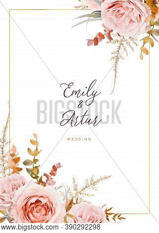 Vector Wedding Invite Card Design. Blush Peach Flowers, Ivory White Rose, Autumn Brown, Beige, Dusty