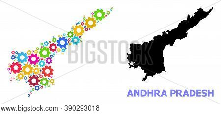Vector Composition Map Of Andhra Pradesh State Created For Engineering. Mosaic Map Of Andhra Pradesh