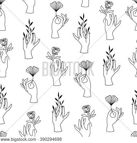 Vector Seamless Pattern Of Female Hands In Minimal Linear Style. Background With Hand Gesture Holdin