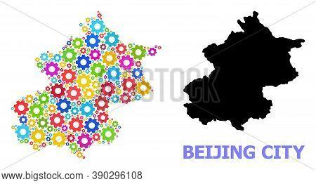 Vector Mosaic Map Of Beijing Municipality Combined For Engineering. Mosaic Map Of Beijing Municipali