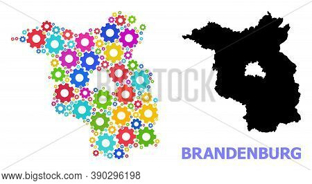 Vector Mosaic Map Of Brandenburg State Designed For Mechanics. Mosaic Map Of Brandenburg State Is Co