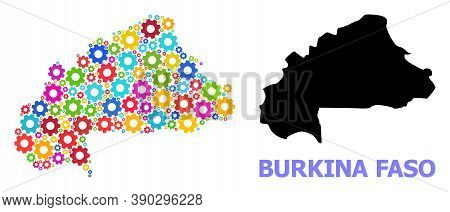 Vector Mosaic Map Of Burkina Faso Combined For Engineering. Mosaic Map Of Burkina Faso Is Created Fr