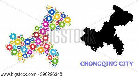 Vector Mosaic Map Of Chongqing Municipality Designed For Workshops. Mosaic Map Of Chongqing Municipa