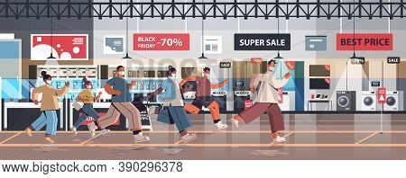 Mix Race People In Protective Masks Running To Store On Sale Black Friday Promotion Event Coronaviru