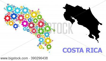 Vector Composition Map Of Costa Rica Organized For Mechanics. Mosaic Map Of Costa Rica Is Formed Wit