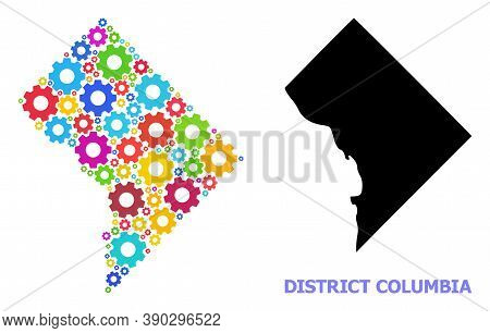 Vector Mosaic Map Of District Columbia Combined For Engineering. Mosaic Map Of District Columbia Is