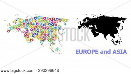 Vector Mosaic Map Of Europe And Asia Created For Engineering. Mosaic Map Of Europe And Asia Is Const