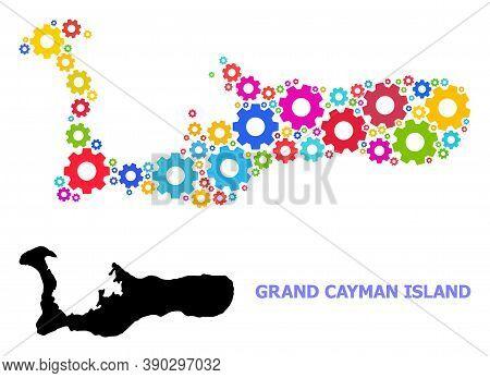 Vector Mosaic Map Of Grand Cayman Island Designed For Engineering. Mosaic Map Of Grand Cayman Island